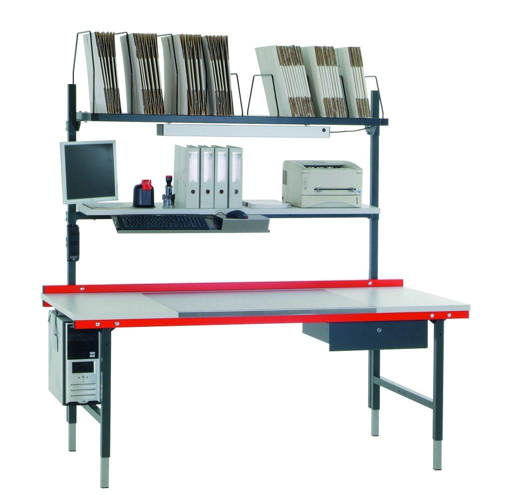 Packtisch Arbeitstisch Tisch Mobiliar Gestell Ablage mit Schublade Werktisch Gstell